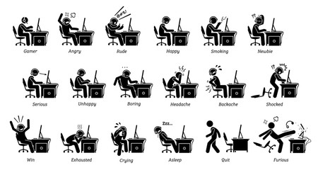 Gamer reactions, feelings, and emotions while playing PC games. Stick figure icons depicts people playing games on computer being angry, happy, rude, serious, boring, exhausted, and furious.