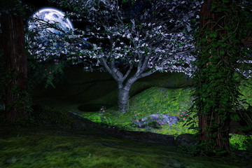 Beautiful magical garden in the moonlight, 3d render.
