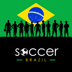 Silhouette of soccer team with flag of Brazil as a background, Vector Illustration