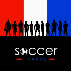 Silhouette of soccer team with flag of France as a background, Vector Illustration