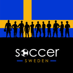 Silhouette of soccer team with flag of Sweden as a background, Vector Illustration
