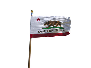 California flag USA flag Isolated Silk waving flag made transparent fabric of California US state with wooden flagpole gold spear on white background isolate real foto 3d illustration
