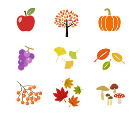 秋のアイコン|set