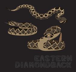 Snake Eastern Diamondback Cartoon Vector Illustration