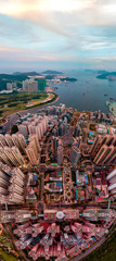 Panorama image of Hong Kong Cityscape from sky view