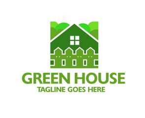 creative green house and fence logo vector