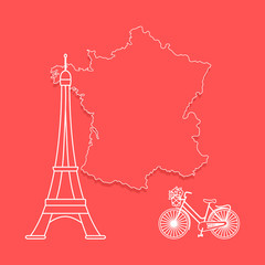 Map of France, tower, bicycle.