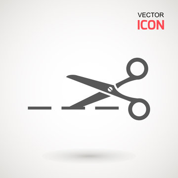 Scissors icon. Cutting scissors icon. Vector illustration. Isolated on white background. Web design element