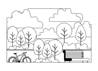park with chair and bicycle scene vector illustration design