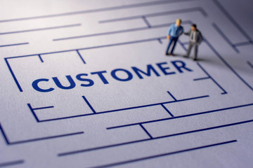 Challenge for Customer Experience Concept. present by Miniature Figure of two Businessman standing on the Maze making Consult and looking for a Client Satisfaction. Focus on Text