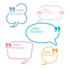 Set Of Quotation Mark Speech Bubbles