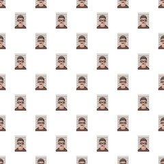 Man arrested photo in police pattern seamless repeat in cartoon style vector illustration
