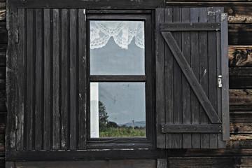 Old wooden window frame
