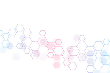 Geometric background from hexagons. Abstract molecular structure and chemical elements. Medical, science and technology concept.