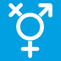 Transgender sign icon white isolated on blue background vector illustration