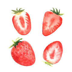 A set of four strawberry berries, in a watercolor style.