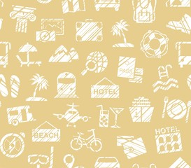 Travel, vacation, Hiking, leisure, seamless pattern, pencil shading, yellow, vector. Different types of holidays and ways of travelling. White figures on a yellow background.