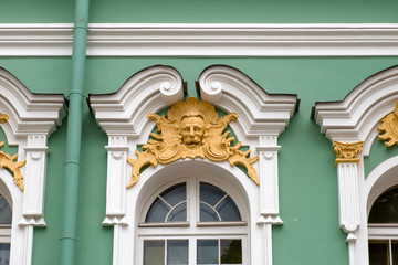 the Hermitage. Architectural detail of the architrave of the window