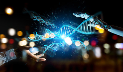 White cyborg hand scanning human DNA 3D rendering