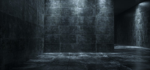 Empty Dark Concrete Room With Led Lights High Contrast  And Reflections 3D Rendering
