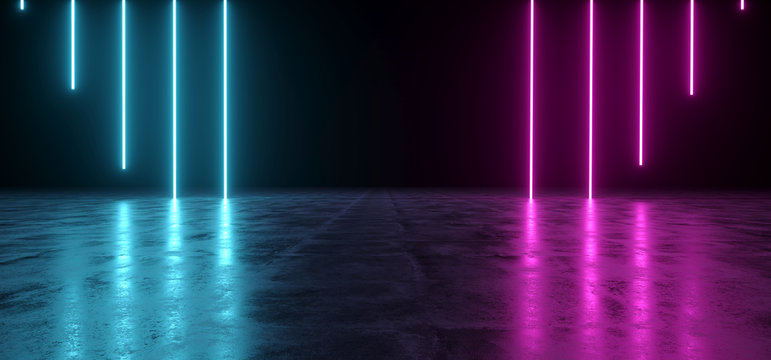 Futuristic Sci-Fi Abstract Blue And Purple Neon Light Shapes On Black Background And Reflective Concrete With Empty Space For Text 3D Rendering