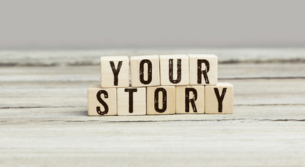 Words Your Story on wood cubes