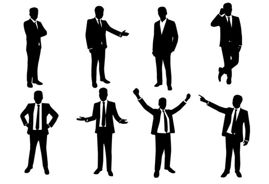 vector of silhouette set of businessman in action