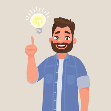 Concept of a great idea. Man shows gesture. Solution of the problem. Vector illustration