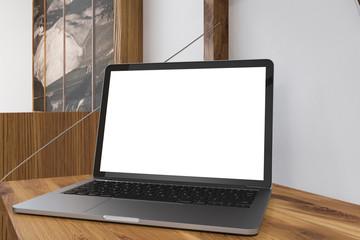 Mock up laptop computer screen, wooden desk