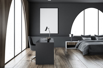 Dark gray home office and bedroom, poster