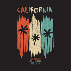 California vintage t-shirt typography with palm trees and grunge. Los Angeles original apparel design for summer clothes print. Vector illustration.