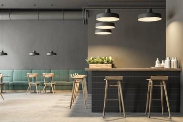 Industrial style bar interior, green sofas
