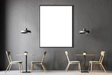 Dark gray wall pub interior, poster
