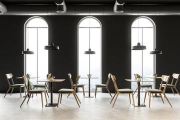 Arched windows restaurant interior