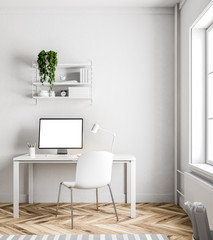 Simple white home office interior, white screen