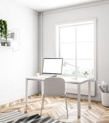 Simple white home office corner, white window