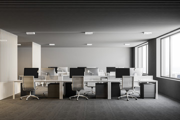 White and gray open plan office interior