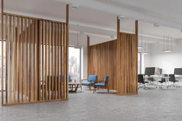Blue sofa meeting room interior, side view