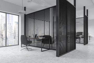 Black panoramic office cubicles