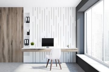 White empty home office interior, freelance idea