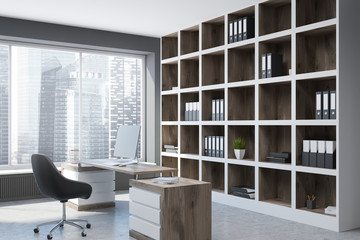 Modern manager office interior, loft in a city