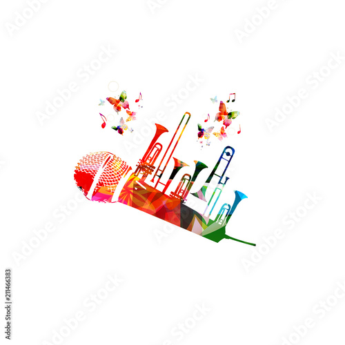 Colorful Music Background Poster With Microphone Trumpet And Music
