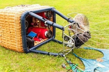 Closeup rusty metal hot air balloon fire burner engine. Gas burner for balloons.  Preparation of a balloon for flight.