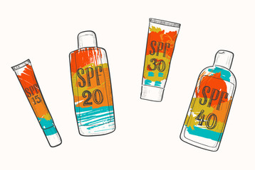 Set with SPF sunscreen cosmetics, sketch in doodle style. Sun protection factor for summer face and body care, icons with bright grunge watercolor stains. Fashion and beauty concept