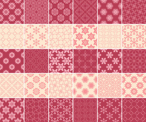 Geometric and floral collection of seamless patterns. Cherry red and beige backgrounds