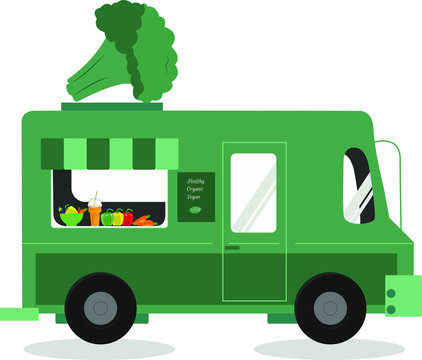 Healthy food concept. Green truck decorated with huge broccoli selling healthy organic food isolated on white background.