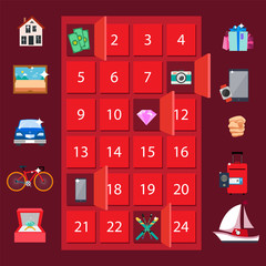 Strongbox and Presents Lottery Vector Illustration