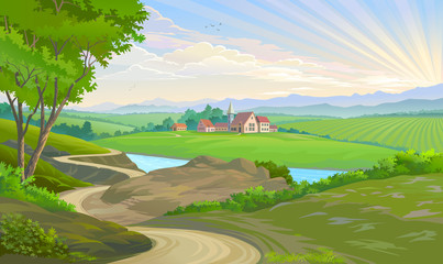 A town in the middle of vast green fields