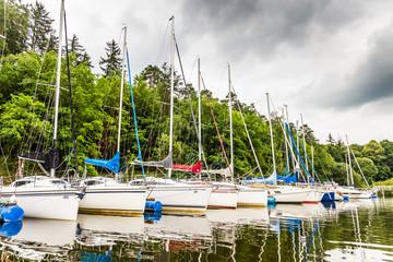 Yacht parking in Vltava river