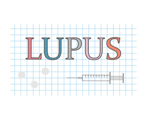 lupus word on checkered paper sheet- vector illustration